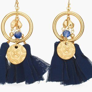 Chico's Blue and Gold-Tone Tassel Earrings